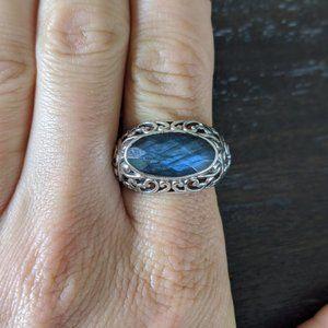 Sterling Silver Scroll Labradorite Ring